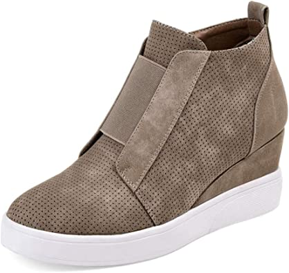 Womens Quilted Wedge Trainers Mid Heel Platform Sneakers High Top Hi Ankle Boots