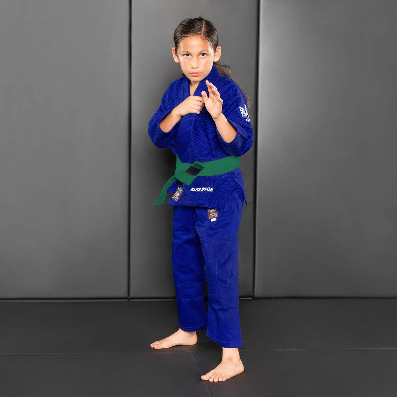 Elite Sports Judo Belt with Stripe Bar Judo Ranking Belt for Kids and Adults IJF Tournament Belt