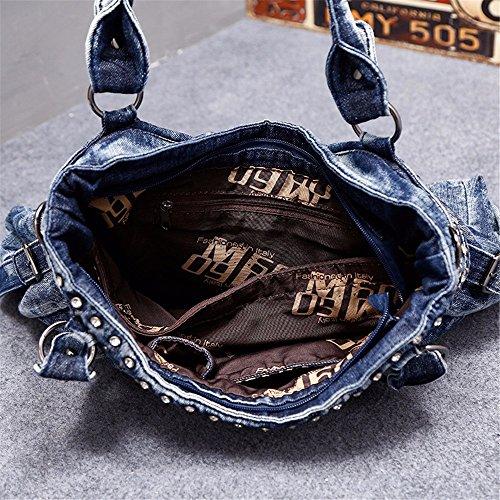 oblique Sac 12 Bleu personnalité de main satchel percer de à mode 28cm nail mode willow 41 incrustation sac cowgirl RrUa4Rqzn