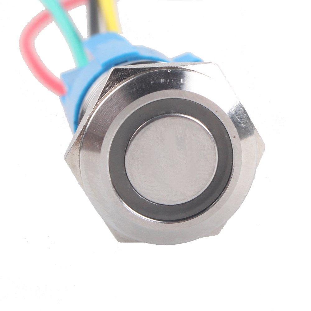EE Support/™ tastend Momentschalter Kippschalter Druckschalter Schalter Drucktaster Druckknopf 16mm 12V 3A Blau LED Licht Metall Steckdose Stecker Draht