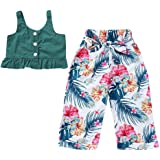 Girls Floral Fruit Print Strap Shirt Dress T-Shirt Tops 4 Years wuayi Baby Girls Clothes Shorts +Hat Outfits 6 Months