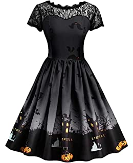 Vanbuy Womens 50s Pin Up Halloween Dress Costume Rockabilly Cocktail Party  Dress e2c4c0a08