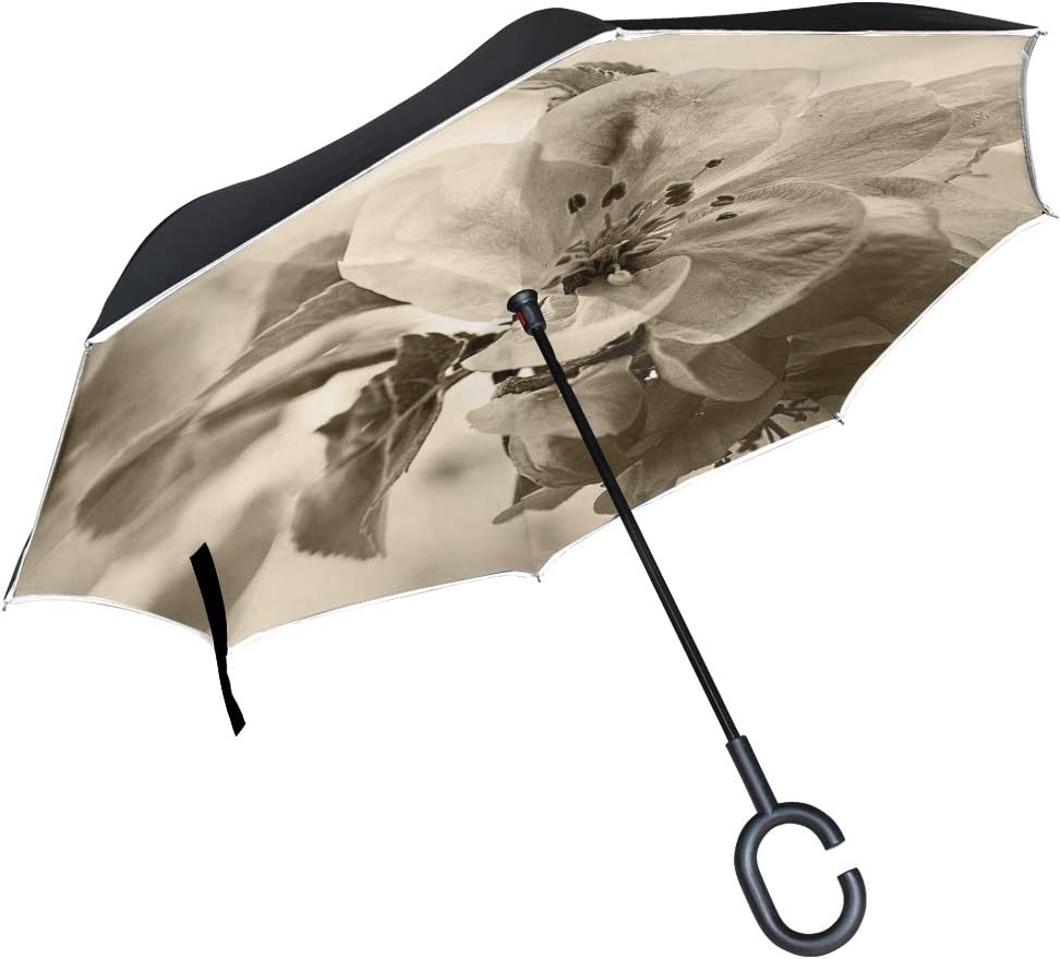 Blue Elefpants And Floral Elements Double Layer Windproof UV Protection Reverse Umbrella With C-Shaped Handle Upside-Down Inverted Umbrella For Car Rain Outdoor