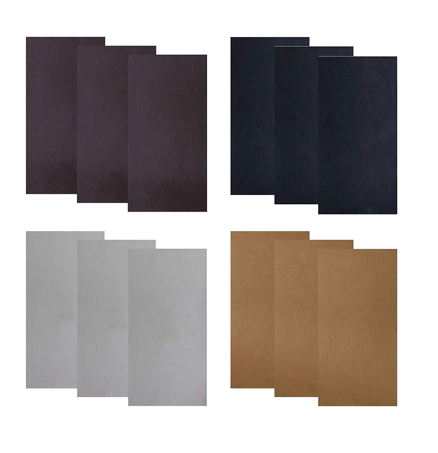 12 PCS Leather Repair Patch,4x8 Inch Leather Adhesive Kit for Couch Furniture Sofas Car Seats Handbags Jackets (Black,Grey,Brown,Dark Brown) by Wocst