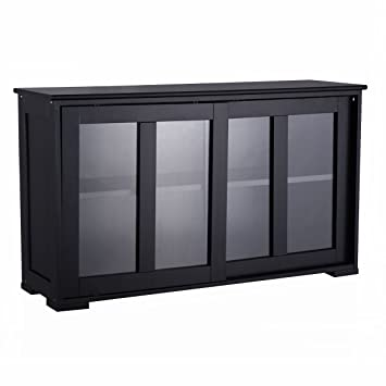 Costzon Storage Sideboard Home Kitchen Cupboard Buffet Cabinet W/Sliding  Door Window