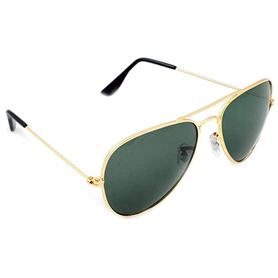 34396ce919c Dervin Green Lens Golden Frame Aviator Sunglasses for Men and Women  Amazon. in  Clothing   Accessories