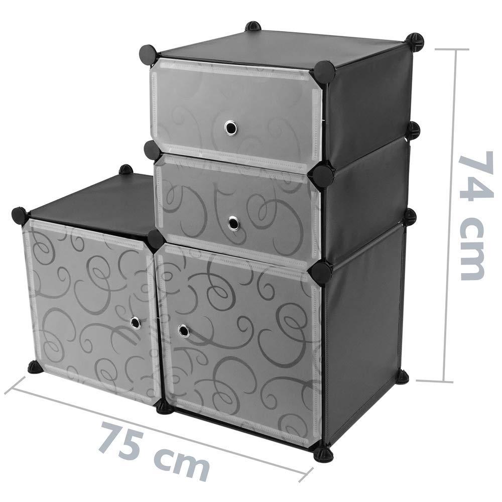 PrimeMatik Armadio Guardaroba scaffale modulare di 4 cubi 35x35cm 17x35cm Nero con Porte