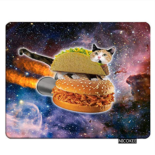 NICOKEE Cat Rectangle Gaming Mousepad Cat Hamburger Universe Stars Mouse Pad Mouse Mat for Computer Desk Laptop Office 9.5 X 7.9 Inch Non-Slip Rubber ()
