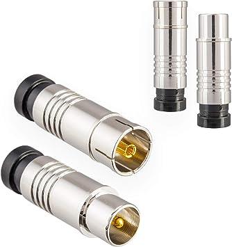 Conector de antena Conector 2X y toma 2X para TV por cable Radio DVB-C / T2 Antenas de TV Conector de compresión IEC macho + hembra para cable de ...