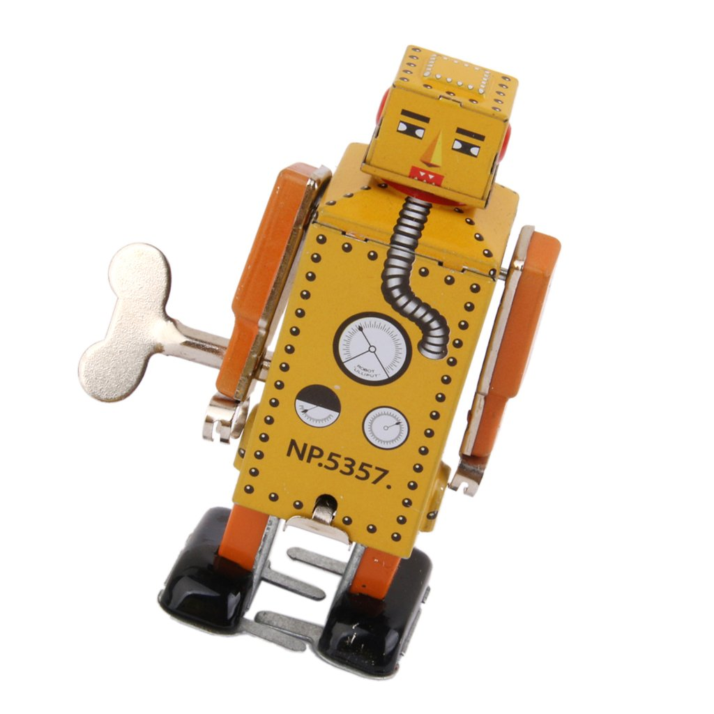 Robot à Clockwork Wind-up en Métal Jouet à Collectionner Adulte - Jaune | La Qualité Des Produits