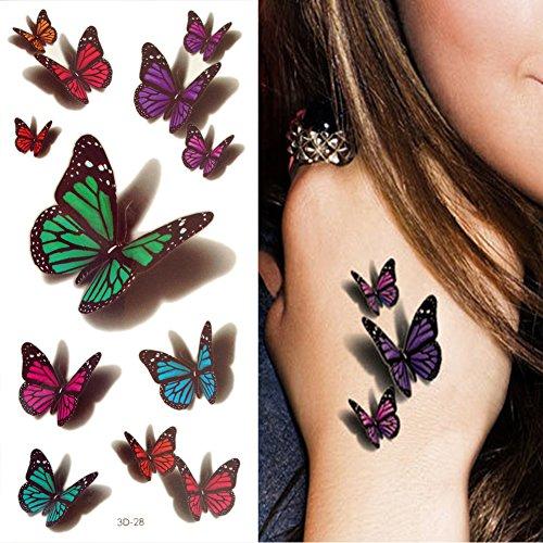10PC 3D Tatouage Temporaire Tattoo Autocollant Ephémère Punk Fleur Papillon Vintage Maquillage Corps (28)