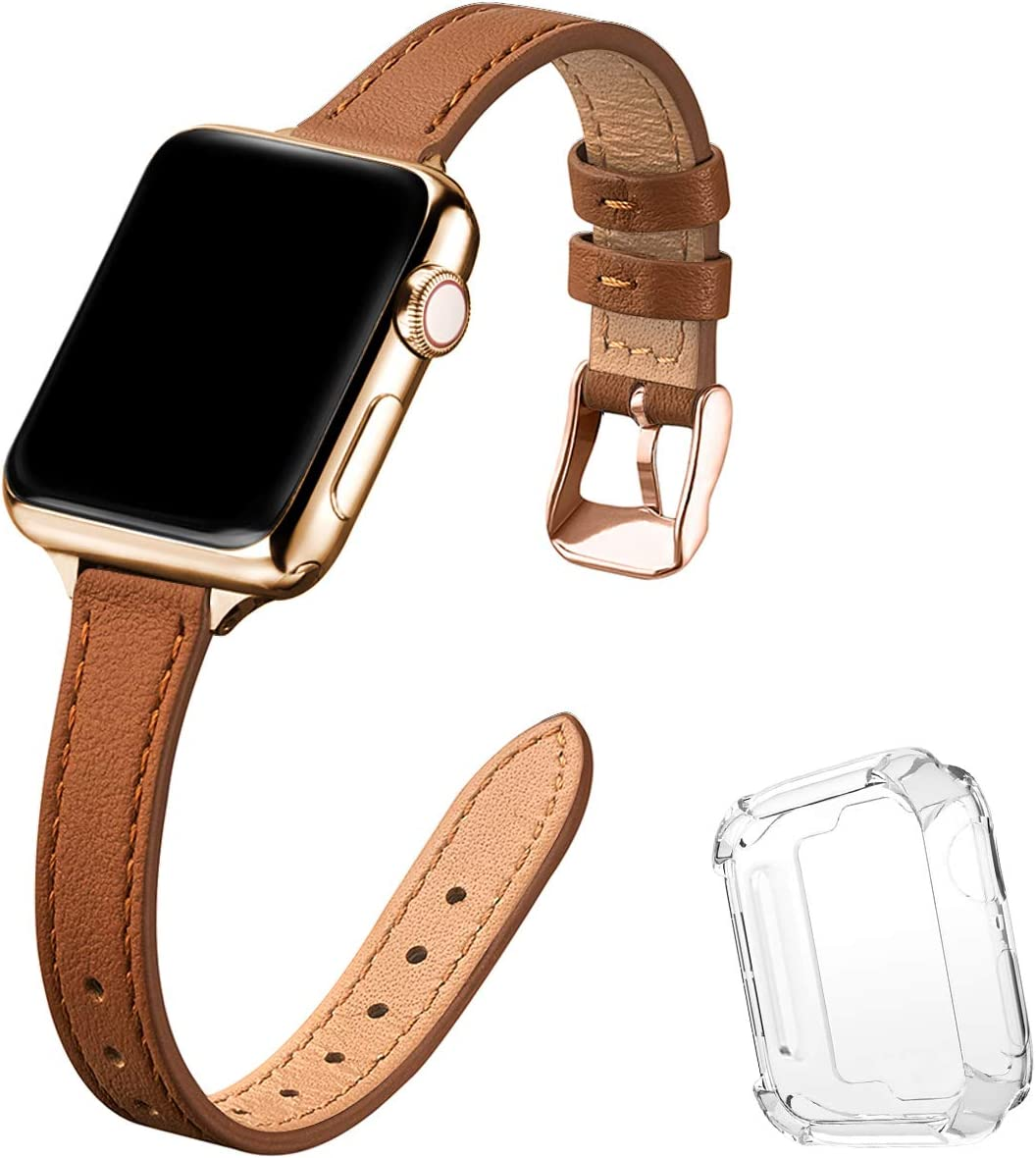 STIROLL Slim Leather Bands Compatible with Apple Watch Band 38mm 40mm 42mm 44mm, Top Grain Leather Watch Thin Wristband for iWatch SE Series 6/5/4/3/2/1 (Brown with Gold, 42mm/44mm)