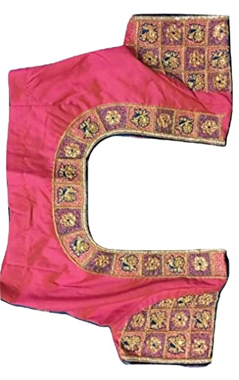 06cad6328ab154 sssfashions Women s Pattu Unstitched Maggam Work Blouse (Pink