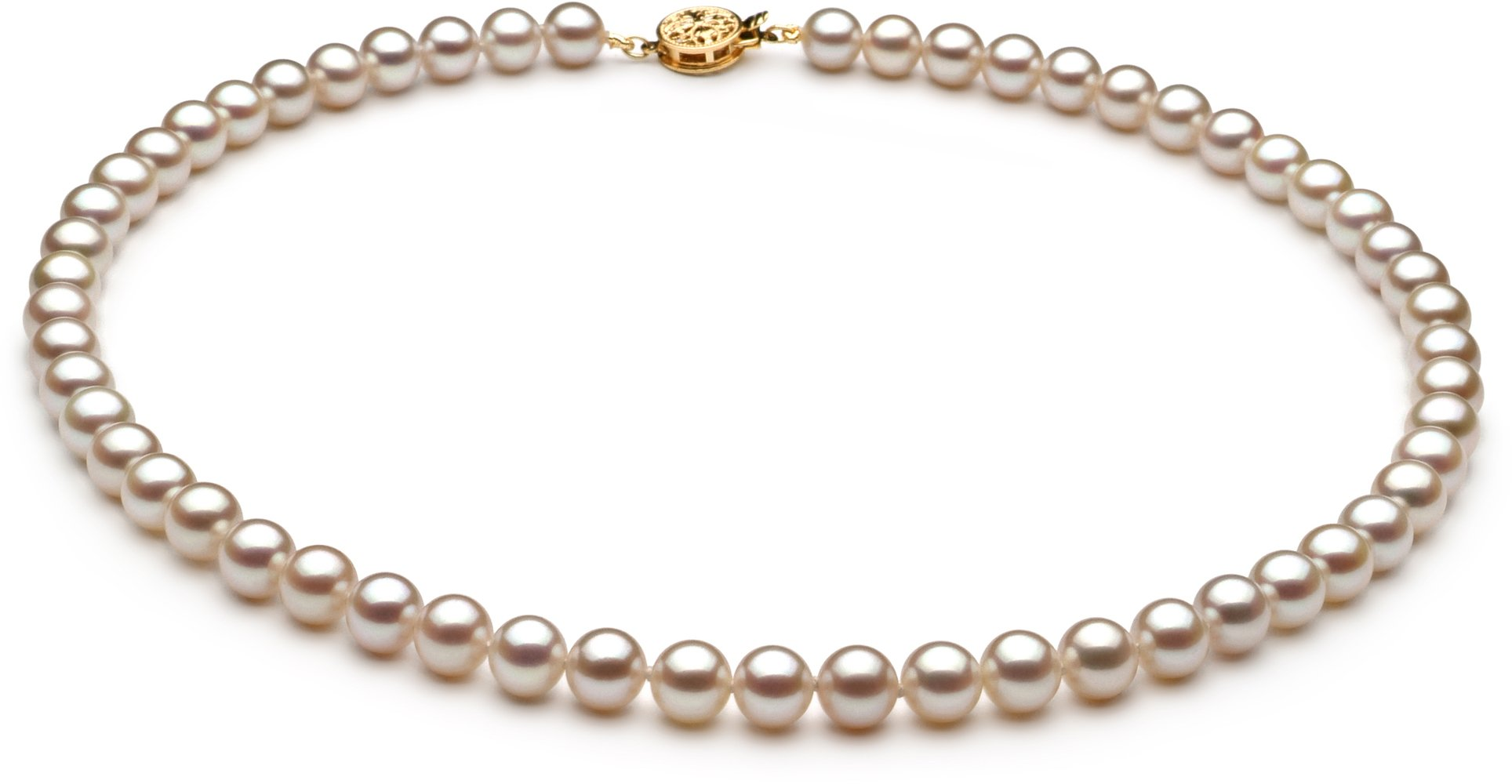 PearlsOnly White 6-7mm AAAA Quality Freshwater Cultured Pearl Necklace-16 in Chocker length