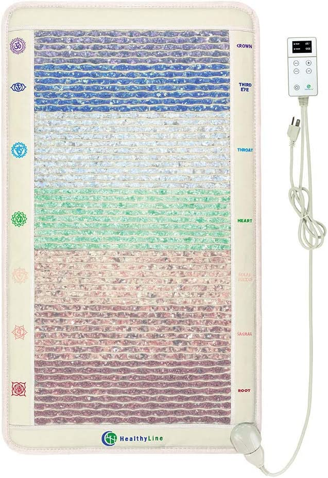 "HealthyLine Full Body Far Infrared Heating Pad - 7 Chakra Healing Crystals for Balancing and Self-Healing Therapy - Reiki – Back and Neck Pain Relief - Large Heated Mat 42"" x 24"" (2nd Ed)"