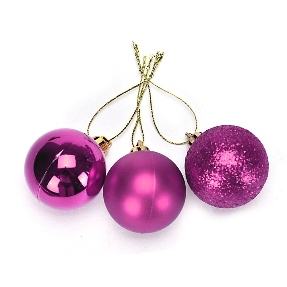 Pollyhb 24Pcs Christmas Ball,4cm Christmas Xmas Tree Ball Bauble Hanging Home Party Ornament Decor (Hot Pink)