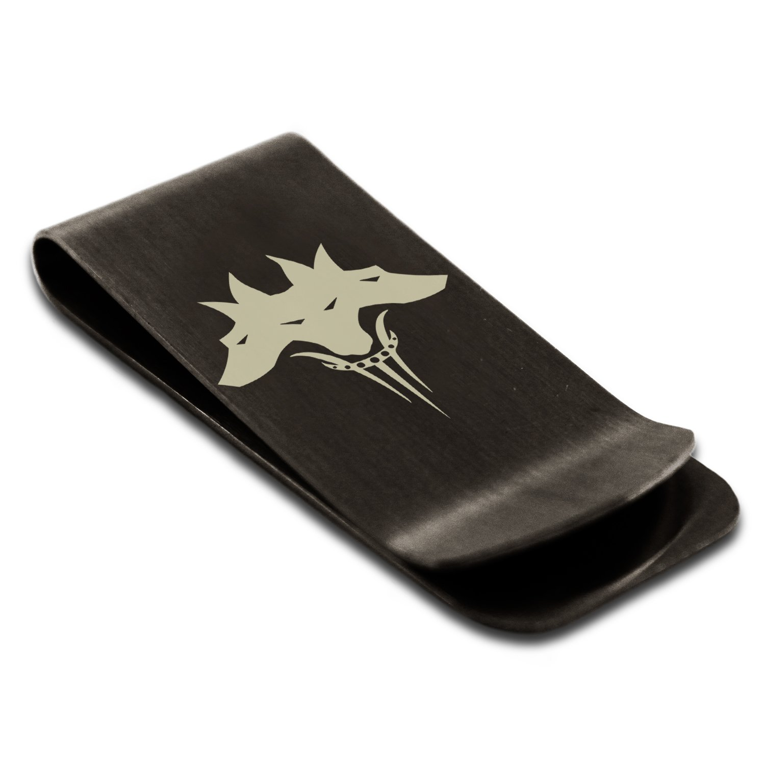 Stainless Steel Greek Mythology Cerberus Symbol Engraved Money Clip Credit Card Holder