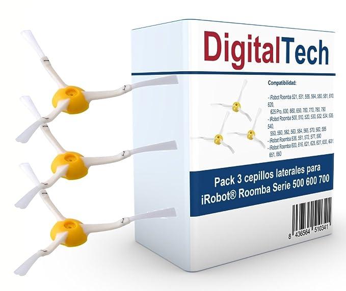 DigitalTech - Pack de Tres cepillos Laterales de Recambio para iRobot Roomba Serie 500 600 700. Recambios Totalmente compatibles.