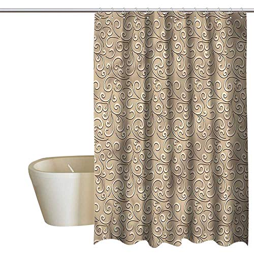 (Denruny Shower Curtains Grey and Purple Beige,Damask Floral Victorian,W72 x L96,Shower Curtain for clawfoot tub )