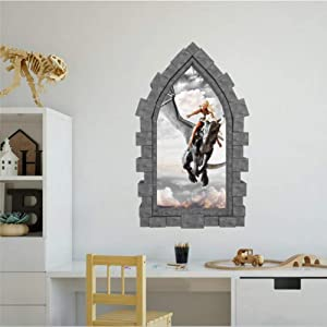 Mother of Dragons Castle Wall Decal Dungeon and Dragon Fairy Tale 3D Window View Wall Decals Funny Stickers Home Decor Vinyl Sticker for Kids Bedroom Wall Art Medieval Decor