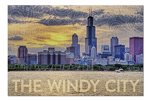 Chicago, Illinois - The Windy City - Paisley Skyline (20x30 Premium 1000 Piece Jigsaw Puzzle, Made in USA!)