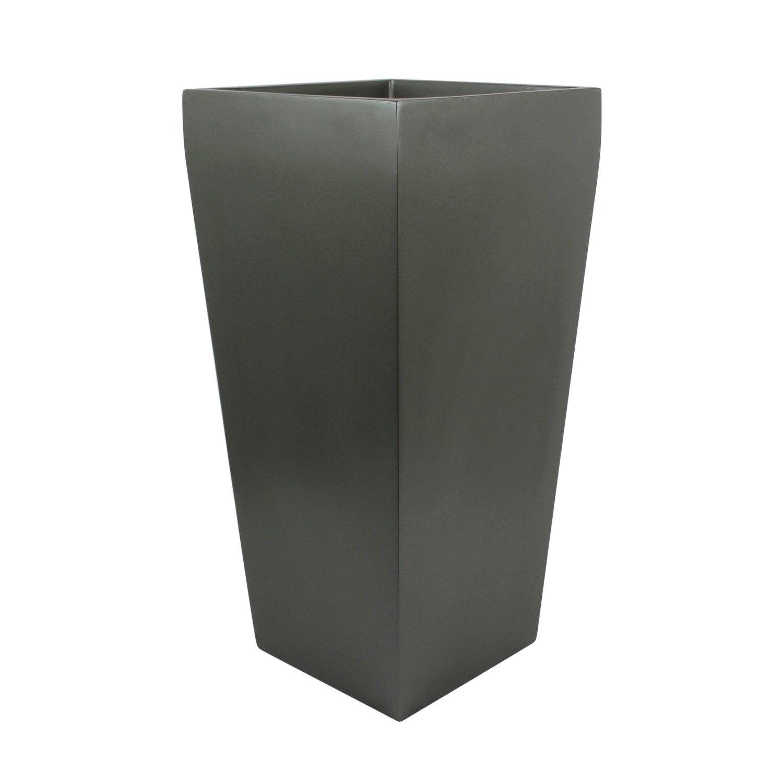 Edinburgh Tall Square Fiberglass Planter (L:13'' x W:13'' x H:26'', Grey)