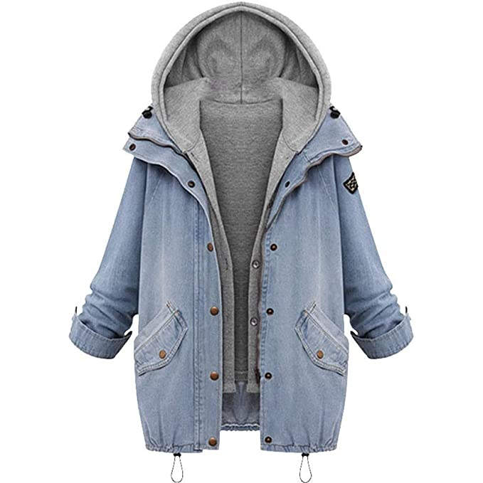 LILICAT❋Winter Mujer Abrigo de Abrigo con Capucha de Cuello cálido Denim Trench Parka Outwear: Amazon.es: Ropa y accesorios