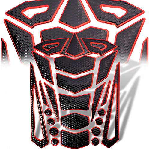 Red Perforated Metal (3D 24-Piece Customize Fuel Tank Pad Decal / Sticker Perforated Black + Chromed Red)