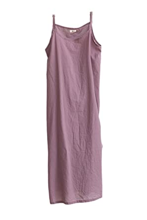 1883048719 Zilcremo Women Summer Casual Spaghetti Straps Loose Cotton Linen Cami Dress  Sleepwear - Purple -  Amazon.co.uk  Clothing