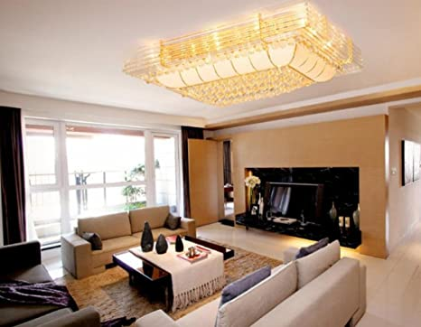 Plafoniera Rettangolare Cristallo : Cristallo plafoniera lampada rettangolare camera da letto salotto