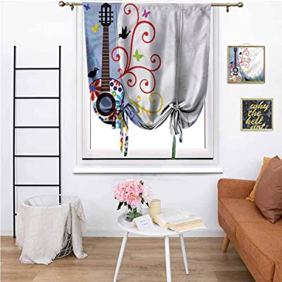 """Bedroom Curtains Guitar with Flowers Lines,Courtyard Porch Gazebo Decoration 36""""x64"""": Home & Kitchen"""