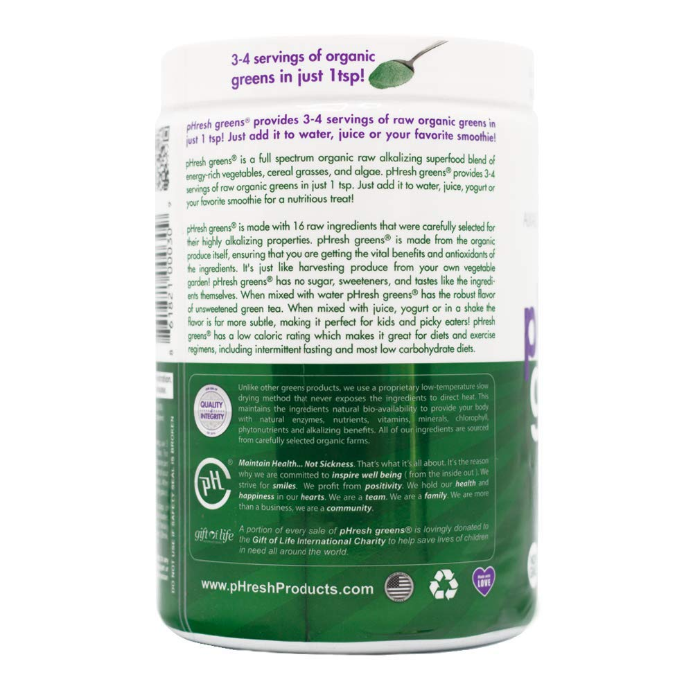 pHresh Greens Raw Alkalizing Superfood, 2 Month Supply, 10 ...