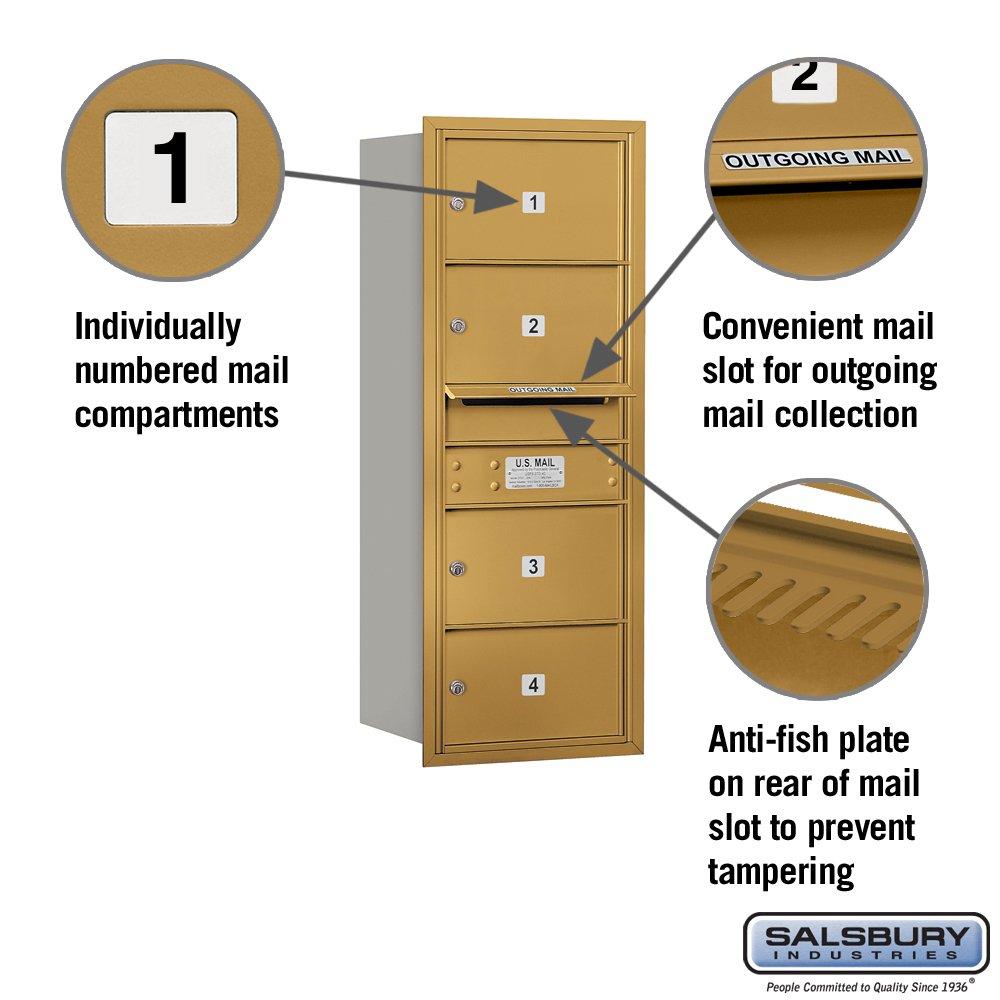 Salsbury Industries 3710S-04GRP 4C Horizontal Mailbox Gold