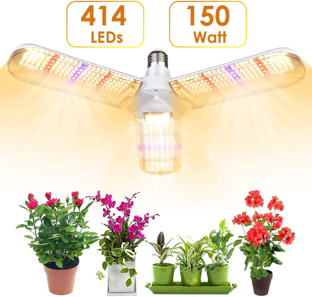 LVJING 150w LED Grow Light Bulb with 414 LED's Foldable Sunlike Full Spectrum Grow Lights for Indoor Plants, Vegetables,Greenhouse & Hydroponic Growing, Grow lamp with Protective Lens | E26/E27 Socket
