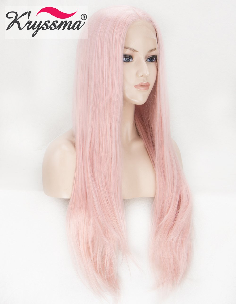 K'ryssma KÀryssma Pink Lace Front Wig Half Hand Tied Long Straight Synthetic Wig for Women Heat Resistant 22 inches