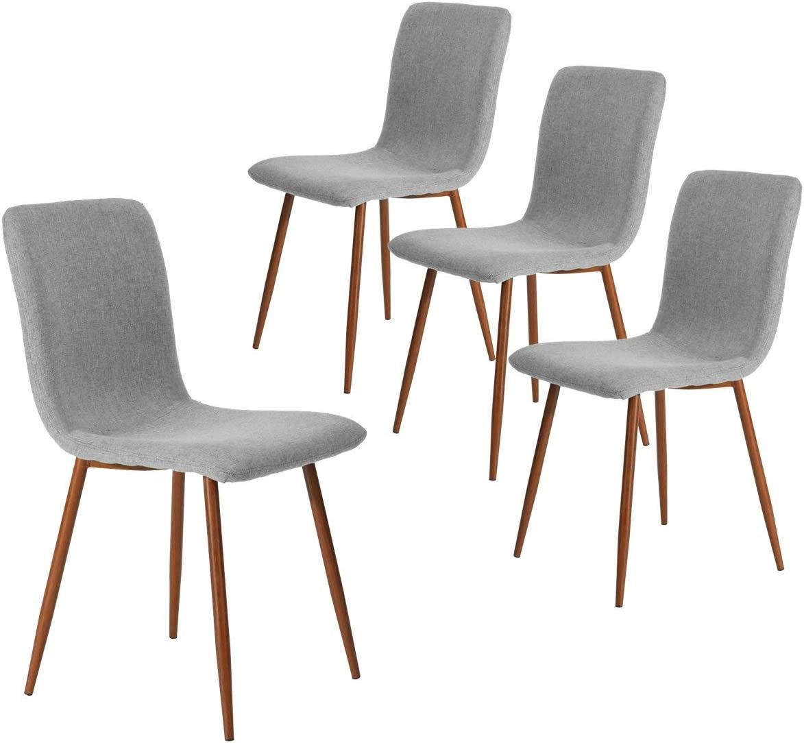 Amazon Com Dining Kitchen Chairs Set Of 4 Modern Dining Room Side Chairs With Fabric Cushion Seat Back Mid Century Living Room Chairs With Brown Metal Legs Gray Kitchen Dining