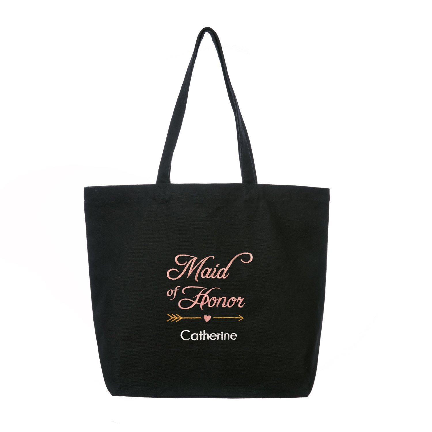 PERSONALIZED Maid Bridesmaid Tote Bag Wedding Gift Shoulder Handbag Black with Pink Embroidered 100% Cotton