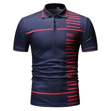 FELZ Camiseta para Hombre, Camisa con Cuello Alto y Manga Corta a Rayas para Hombre: Amazon.es: Ropa y accesorios