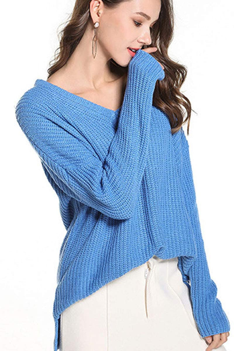 Womens Deep V Neck Knit Fashion Textured Loose Fit Baggy Fashion Solid Jersey Longline Sweater Tops Blouse Blue XL