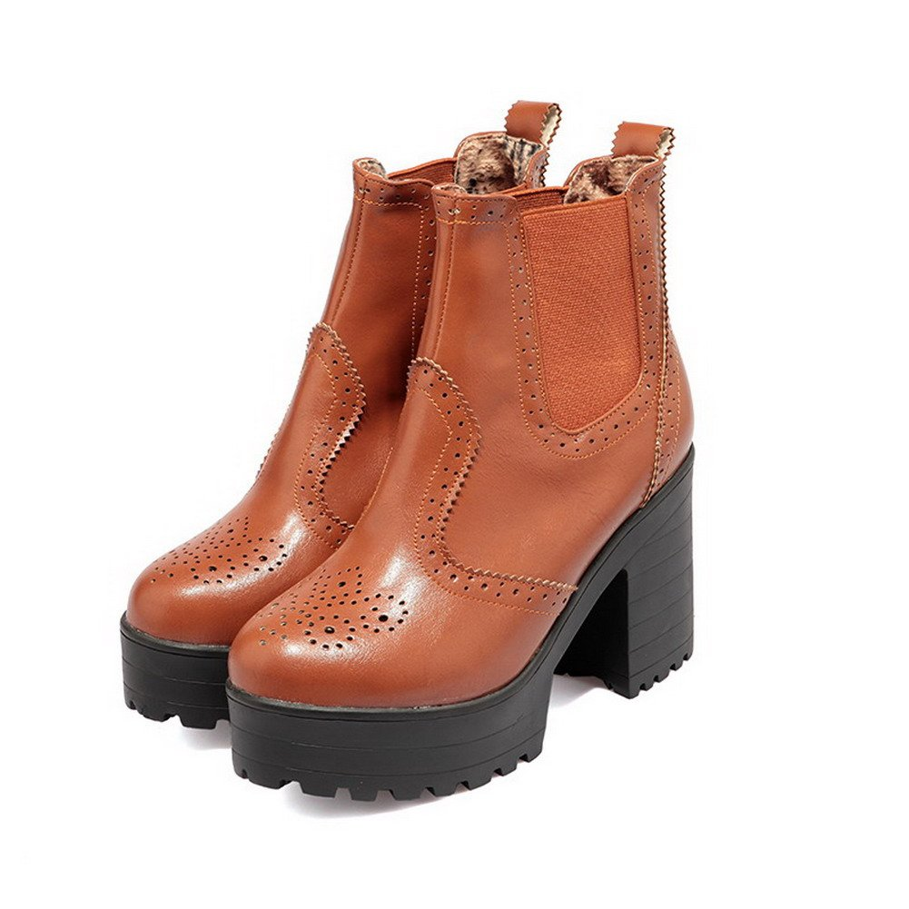 WeiPoot Women's PU Low-top Solid Pull-on B01LWT6YN9 High-Heels Boots B01LWT6YN9 Pull-on Boots 68d684