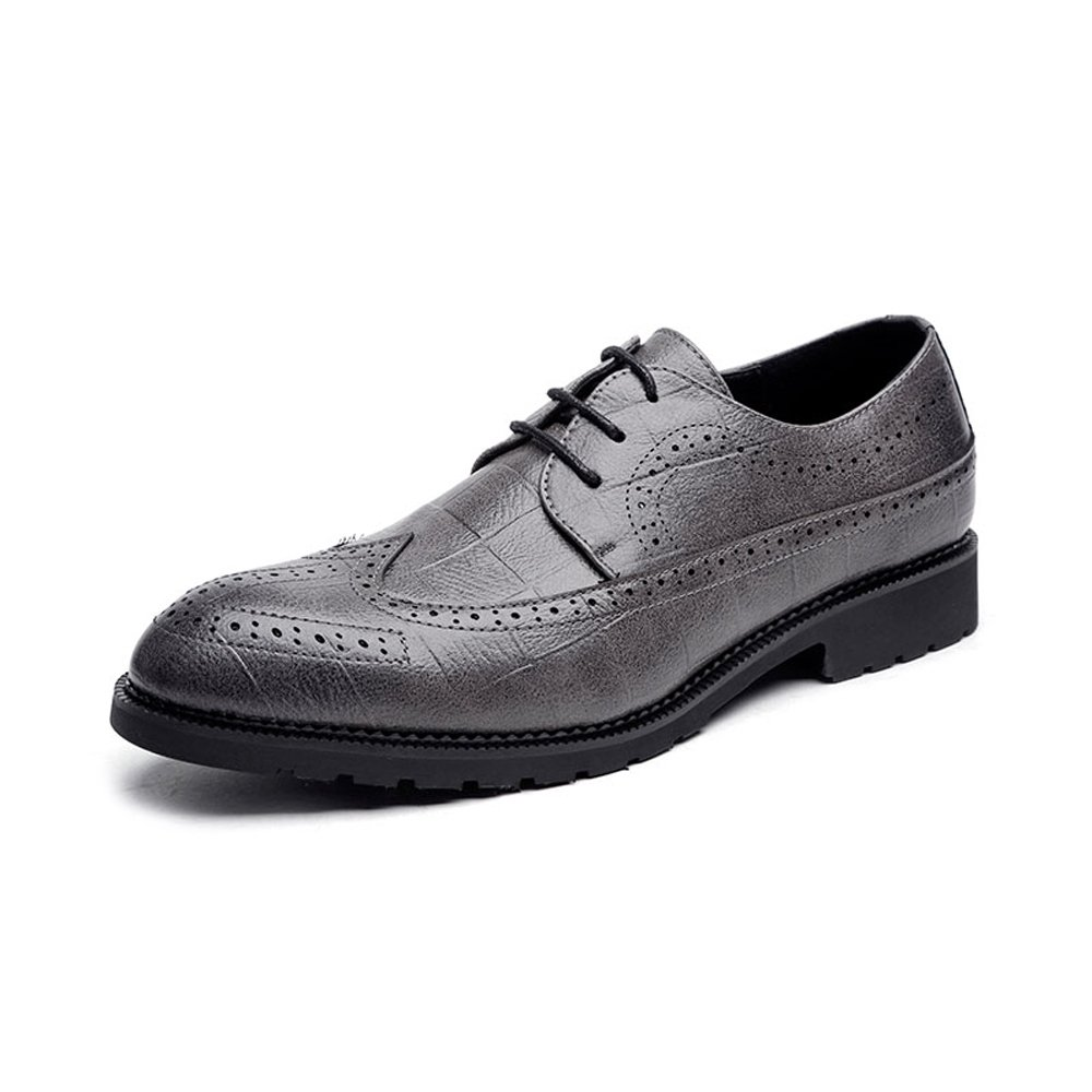 IWGR Herren Classic PU Leder Brogue Schuhe Classic Lace Up Atmungsaktiv Formal Business Gefüttert Oxfords Atmungsaktiv