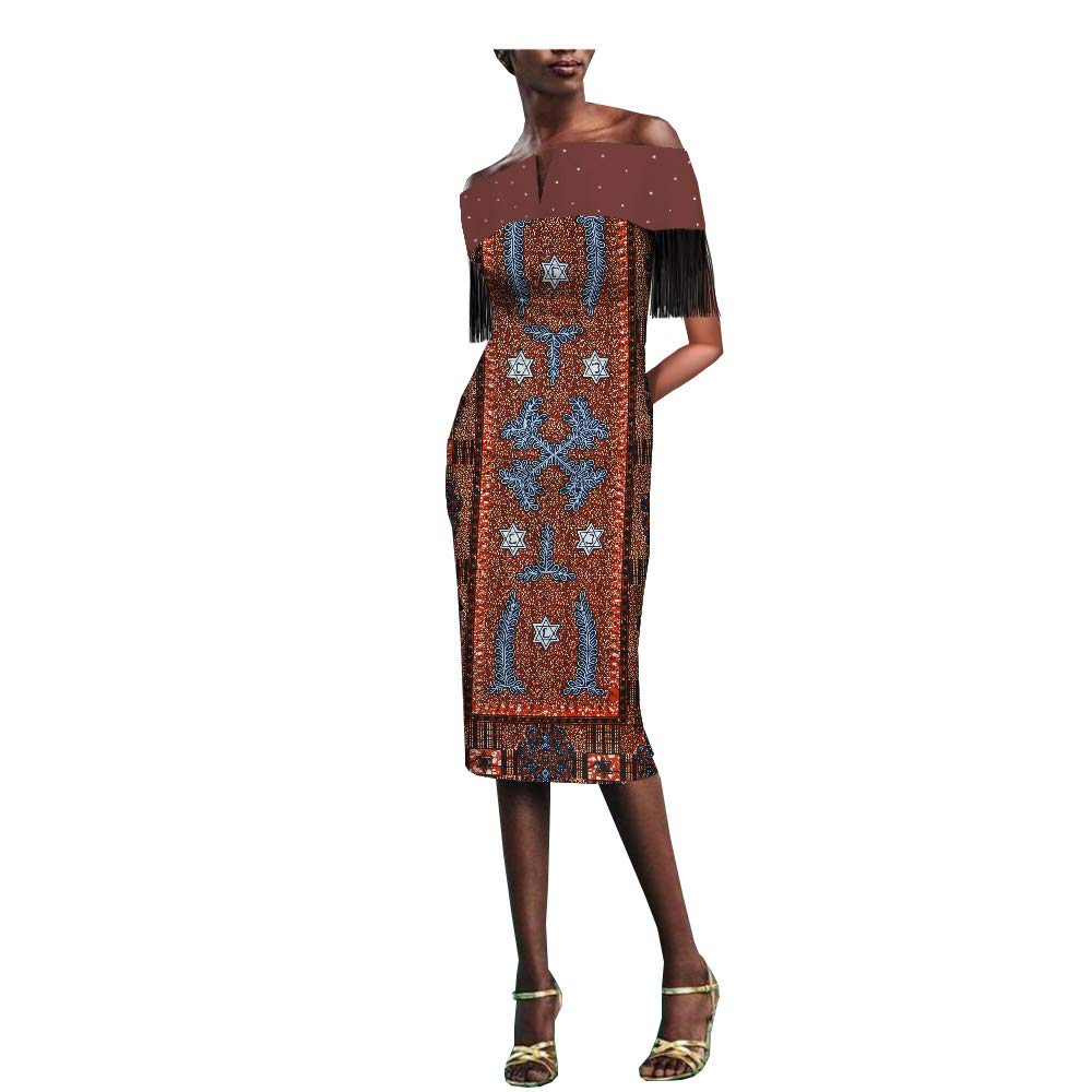 4511j African Ankara Print Women Dress with Tassel and Rhinestone Slash Neck Knee Length 100% Batik Cotton Made AA1825077