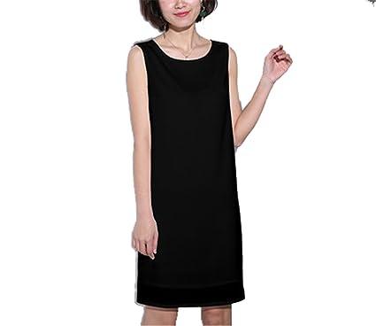 8b30dbd4227c buttercupgoods Women Summer Chiffon Dresses Loose Big Yard Solid Color Round  Neck Sleeveless Tank Black S
