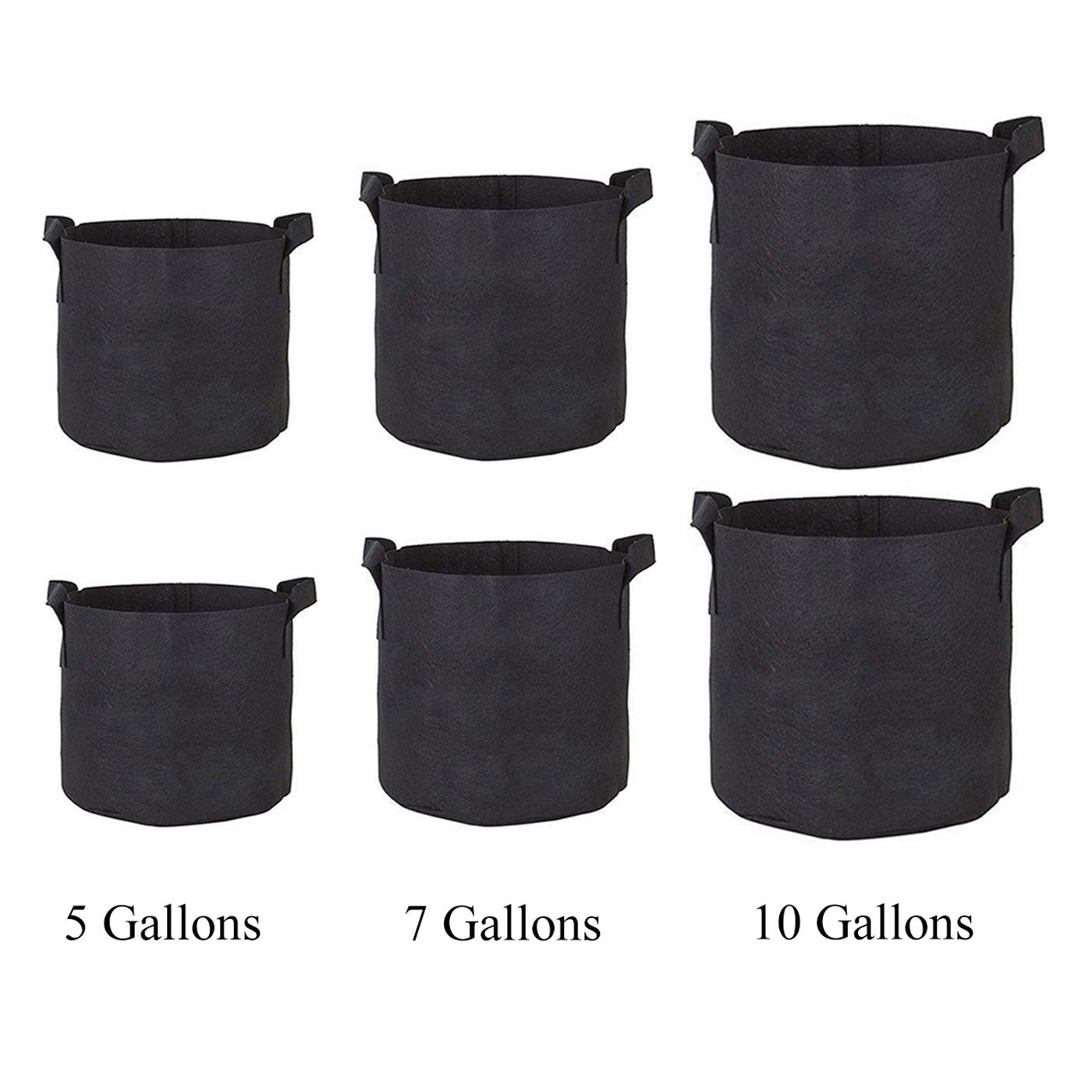 Homezal Grow Bags 5 Gallon 7 Gallon 10 Gallon, 6 Pack Durable Fabric Planting Pots with Strap Handles, Perfect for Vegetables and Fruits