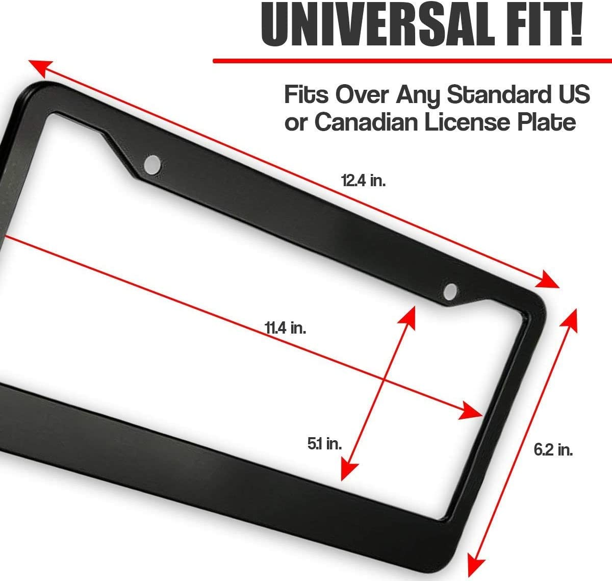 huizehonghong Customized License Plate Frame Black Car Tag Frame Aluminum with Screw Caps for US Vehicles 2 Hole