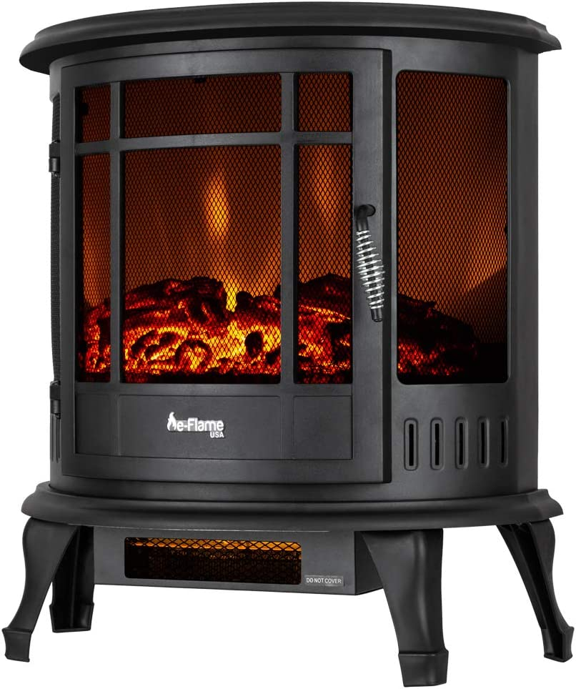 E Flame Usa Regal Freestanding Electric Fireplace Stove 3 D Log And Fire Effect Black Kitchen Dining