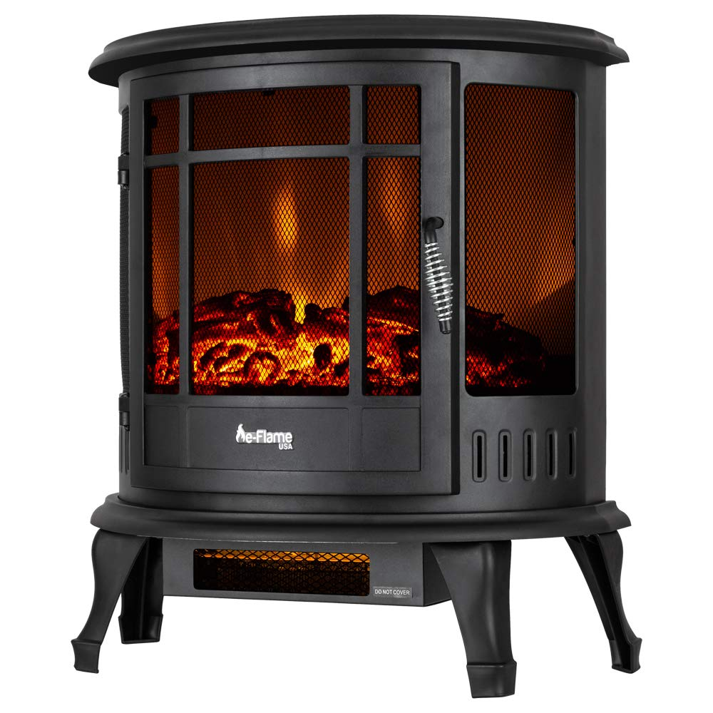 e-Flame USA Regal Free Standing Electric Fireplace Stove – 3-D Log and Fire Effect Black