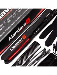 "MONDAVA PROFESSIONAL 1¼"" Ceramic Tourmaline Flat Iron Hair Straightener - Dual Voltage Adjustable Digital Technology, Straighten & Style Wild Hair Under 8 Min, Perfect For All Types (CLASSIC Ionic)"