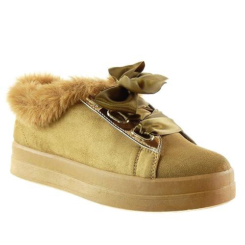 Angkorly - Scarpe da Moda Sneaker Donna Pelliccia Lacci in Raso Tacco Tacco  Piatto 3.5 CM 0df86915d65