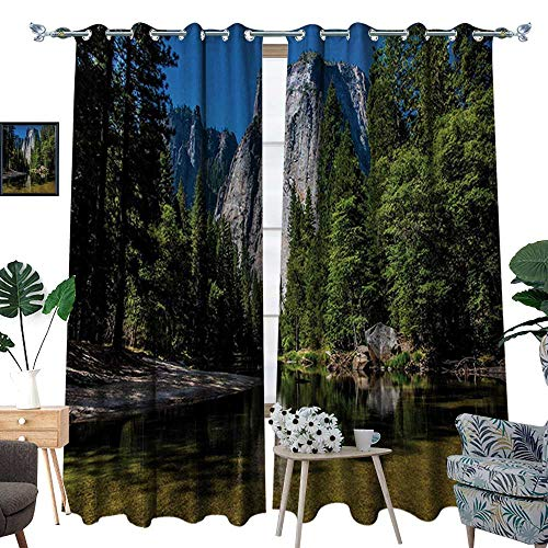 (RenteriaDecor Yosemite Waterproof Window Curtain Large Granite Cliff Surrounded by Trees River Under Clear Sky Wild Beauty Scenery Blackout Draperies for Bedroom W84 x L108 Green Blue)